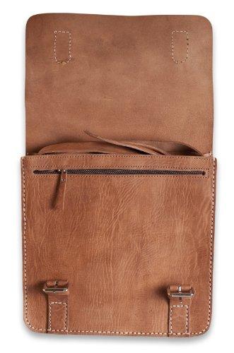 Brunhide # 109-300 - Bolso estilo satchel para hombre - Piel auténtica Tan