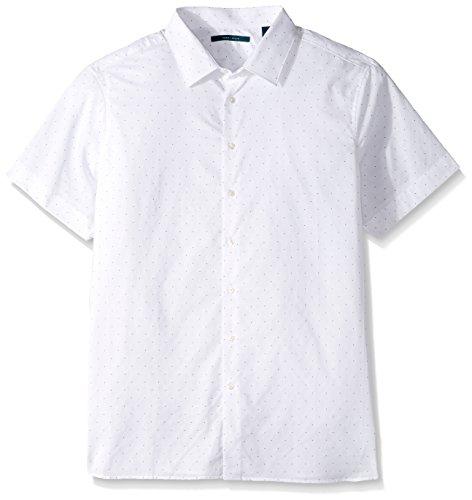 Perry Ellis Men's Big and Tall Short Sleeve Dot Printed Shirt, Bright White-4CMW7610, 2XL
