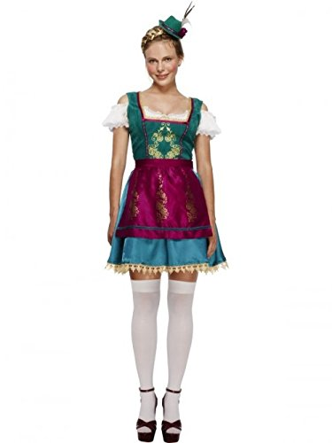 [Smiffy's Women's Fever Deluxe Dirndl Costume, Dress, Attached Underskirt, Hat and Apron, Around the World, Fever, Size 10-12, 43473] (Deluxe Oktoberfest Hat)