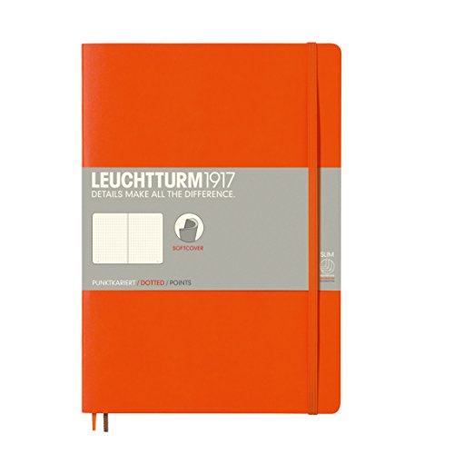 Leuchtturm1917  Softcover Dotted Notebook, 7x10 Inches, Orange,  121 Pages, (349279)