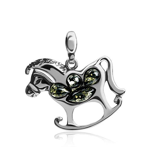 Green Amber Sterling Silver Rocking Horse Pendant ()
