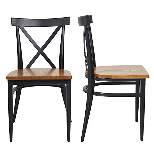 - Livebest Dining Side Chairs Set of 2 Stack Chair Metal and Wood Cross Back Dining Room Restaurant Indoor Outdoor Fully Assembled Modern Furniture for Retro Bistro Kitchen Cafe,Black