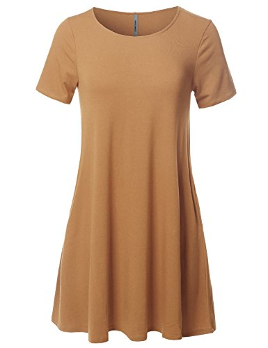 Women's Casual Coffee Awesome21 Dress Stretchy Short Tunic Loose Fit Sleeve Aawdrs0007 wdqqYAxSv