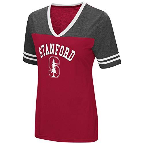 (Colosseum Women's NCAA Varsity Jersey V-Neck T-Shirt-Stanford Cardinal-Cardinal-Small)
