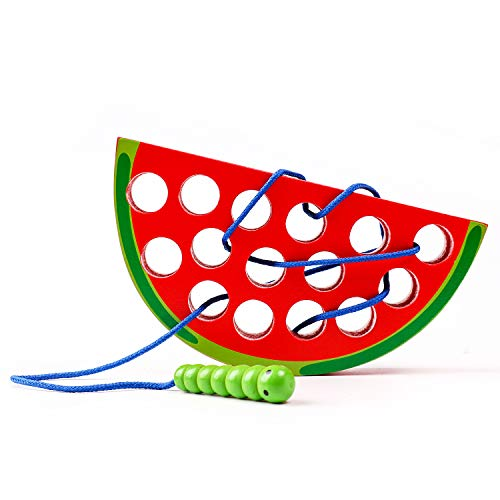 kizh Lacing Toy Big Watermelon Threading Fruits Montessori Activity Learning Early Development Educational Toys for Baby Toddler and Kids (90 Tabs Eyes)