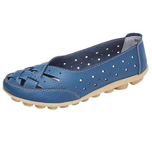 Boomboom Women Shoes, Soft Lady Flats Sandal Leather Ankle Casual Slipper Single Shoes Blue US 6