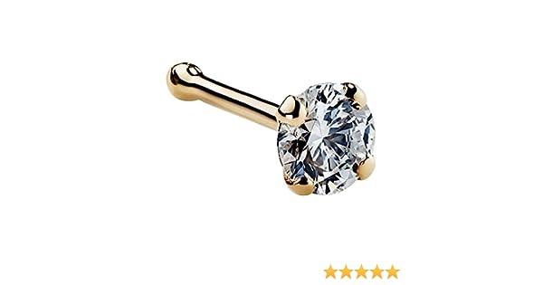 Kimana Women Nose Bone Ring Stud 3mm 1 10 Ct Diamond 14k Yellow
