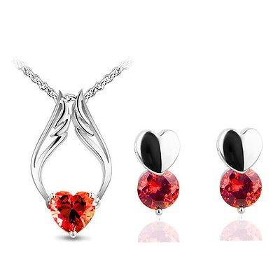 Rouge zircon cœurs d'ange romantique Parure de bijoux boucles d'oreilles clous et collier S501