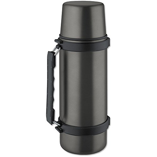 - Isosteel VA-9553QAT 34 fl. oz. Double Walled Vacuum Flask with Isulating Plastic Drinking Mug and Quickstop System - Single Hand Pouring, Titanium Gray - BPA free