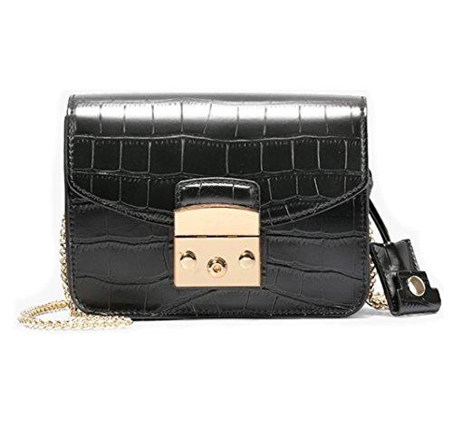 - JeHouze Fashion Women Genuine Leather Crossbody Mini Handbag Metal Strap Small Purse (Black Croc)