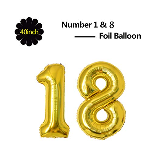 40 Inch Jumbo Gold Foil Mylar Number Balloon for Boy Girl 18th Birthday Party Decoration 18 Years Old Anniversary Party Supplies ()