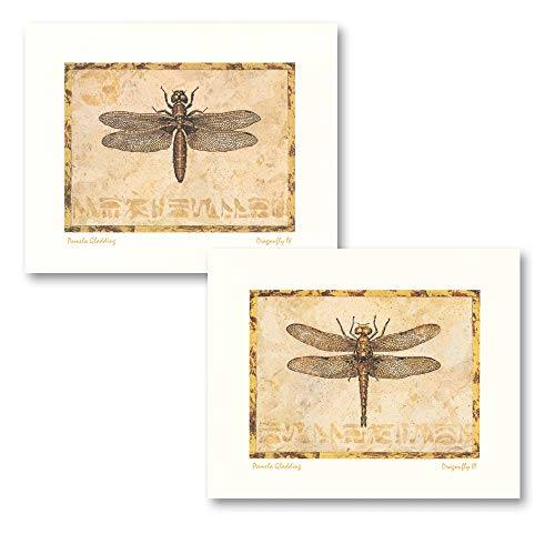 Gango Home Decor Classic Vintage Botanical Dragonfly Prints; Two 10x8in Poster Prints