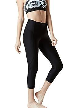 "Tm-fyc34-blk_medium Tesla Yoga 21""capri High-waist Pants W Side Pockets Fyc34 5"