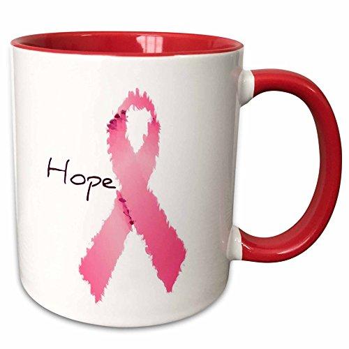 3dRose mug_42618_5 Painted Pink Ribbon Hope-Art-Breast Cancer Awareness Ceramic, 11 oz, Red/White