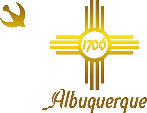 (Flag of Albuquerque New Mexico (Metallic Gold) (Set of 2) Premium Waterproof Vinyl Decal Stickers for Laptop Phone Accessory Helmet Car Window Bumper Mug Tuber Cup Door Wall Decoration)