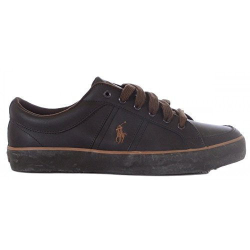 Ralph Lauren , Baskets mode pour homme DK Brown/Brown Leather