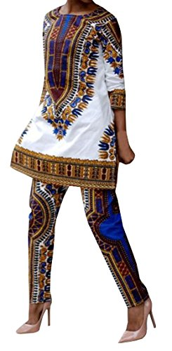 Lovaru Women's Fashion 3/4 Sleeve Casual African Dashiki Shirt and Pants Set Outfit (XXX-Large, (African Outfit)