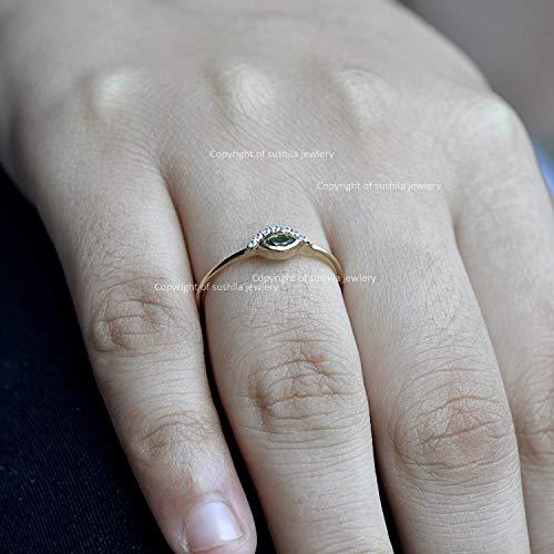 Genuine Emerald Gemstone SI Clarity G-H Diamond Engagement Evil-Eye Band Ring in 14k Silid Yellow Gold Handmade Minimalist Ring Jewelry Gift ()