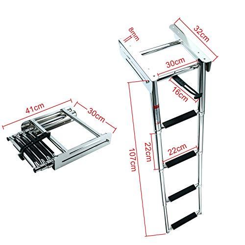 DasMarine 4-Step 316 Stainless Steel Telescoping Ladder, Slide Under Platform Mount Boarding Ladder with Retaining Strap (4 Step Ladder) (Ladder Slide)