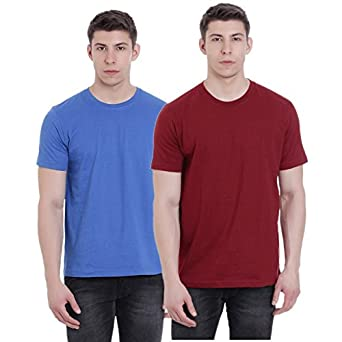 b14608b9d7cd FAB69 Solid Men s Round Neck Half Sleeve Cotton Palace Blue   Ruby Wine  Merron T-shirt (Combo Pack of 2) -
