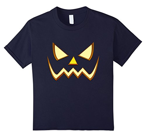 Kids Official T-Shirt Scary Face Halloween Costume Evil Orange 12 Navy