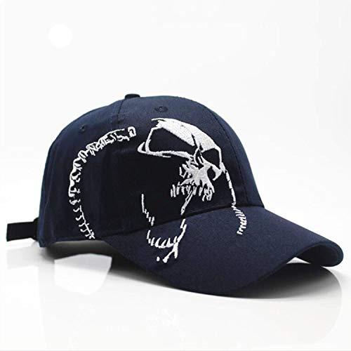 ユニセックスコットンアウトドア野球のキャップスカル刺繍スポーツ帽子男性&女性のキャップ,紺,調節可能な