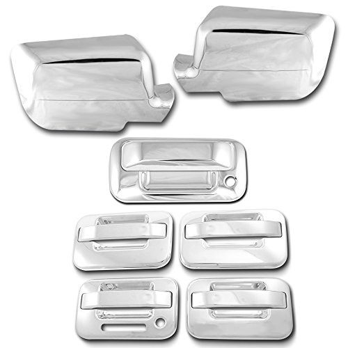 AutoModZone Chrome ABS 4 Door Handle Cover without PSG Keyhole with Keypad + Tailgate Cover with Keyhole + Full Mirror Cover Combo for 04-08 Ford F-150