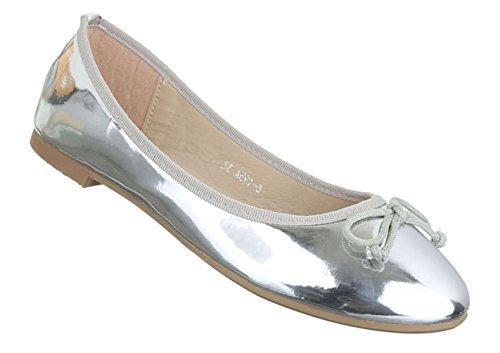 Damen Ballerinas Schuhe Loafers Slipper Slip-on Flats Schleifen Silber Silber 36 37 38 39 40 41 Silber