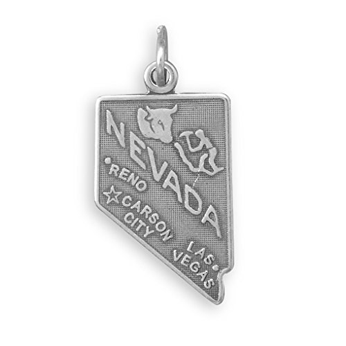 Nevada State Sterling Silver Charm (Nevada State Charm)