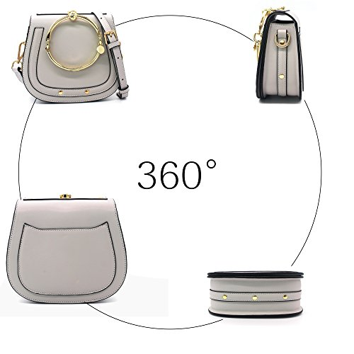 Handle Ring Round Girls Yoome Handbags Bags Small Women Purse Crossbody Gray For Circular Punk gwgqxItH