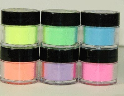 6 Mia Secret Flash Neon Acrylic Nail Art Powder Glows Under the Black Light 6 Neon - Neon Of Color