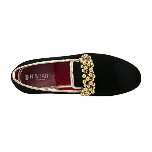 Hi & Hann Perles Décoration À La Main Hommes Velours Slip-on Chaussures Flâneurs Mocassins Smoking Noir