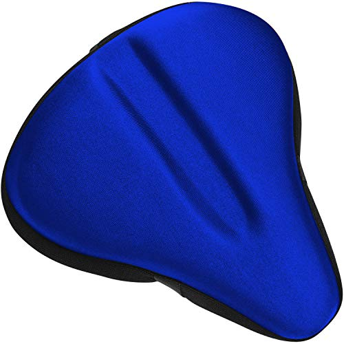 "Bikeroo Large Exercise Bike Seat Cushion - Bicycle Wide Gel Soft Pad 10"" x 11"" - Most Comfortable Bicycle Saddle Cover for Women and Men Bike seat Gel Cover fits Cruiser and Stationary Bikes"