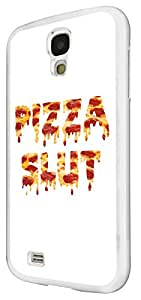 1091 - Cool fun pizza slut junk food take away doodle Design For Samsung Galaxy S4 i9400 Fashion Trend CASE Back COVER Plastic&Thin Metal - White