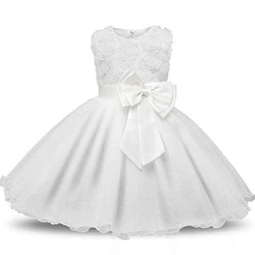 NNJXD Girl Sleeveless Lace 3D Flower Tutu Holiday Princess Dresses Size 3-4Years White