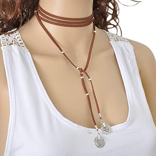 Werrox New Fashion Women Retro Sexy Velvet Choker Coin Pendant Long Necklace Jewelry | Model NCKLCS - 24979 |