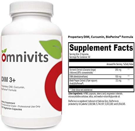 Omnivits DIM 3 + | Turmeric Extract (Curcuma Longa) 250mg, DIM (diindolylmethane) 150mg, Black Pepper Extract(BioPerine®) 2.5mg | Supports Healthy Estrogen Metabolism Men & Women | 120 Vegetarian Cap