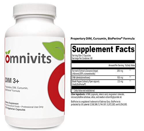 Omnivits DIM 3 Turmeric Extract Curcuma Longa 250mg, DIM diindolylmethane 150mg, Black Pepper Extract BioPerine 2.5mg Supports Healthy Estrogen Metabolism Men Women 120 Vegetarian Cap