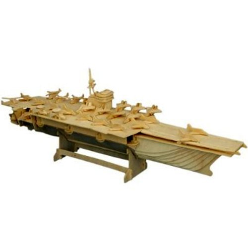 All4LessShop 3-D Wooden Puzzle - Aircraft Carrier Ship Model -Affordable Gift for Your Little One! Item - Aircraft 3d Models