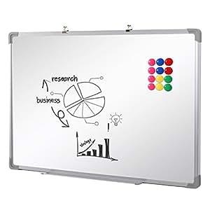 SwanSea oficina pizarra blanca magnética con pen tray y 12 Magnetes 90x60cm