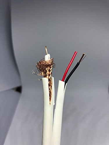 White CCTV Cable Wire Siamese RG59/U Coax + 18AWG 2C Stranded BC, 20AWG Solid Bare Copper RG59, RG59/U Braid Copper-Clad Aluminum Alloyed, 95% Coverage White, Riser Rated, 500FT Lengths