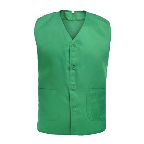 TOPTIE Vest for Supermarket Clerk Work Uniform Vests with Pockets & Front Button