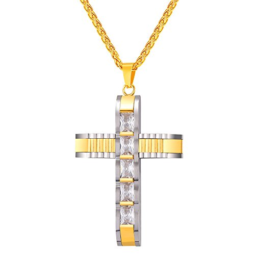 Men's Gold Plated CZ Cross Pendant Necklace 18K Stamp Wheat Chain 3mm - (18k Wheat Necklace)
