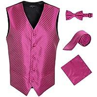 Ferrecci Men's 4pc Vest Diamond Pattern - 5 Button/Adjustable Back w/Bow Tie, Tie, Hanky