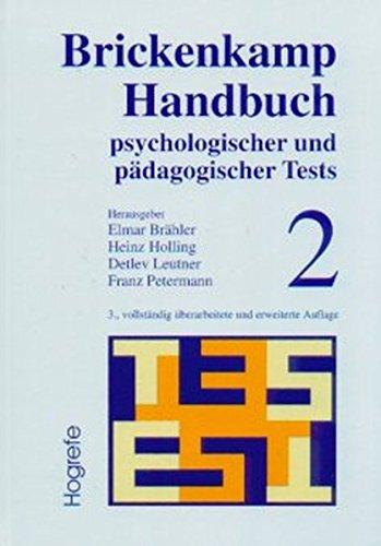 Download Brickenkamp Handbuch psychologischer und pädagogischer Tests, 2 Bde., Bd.2 PDF ePub fb2 book