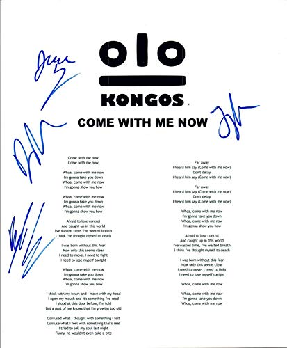 """KONGOS Signed Autograph""""Come With Me Now"""" Lyric Sheet Full Band COA VD"""