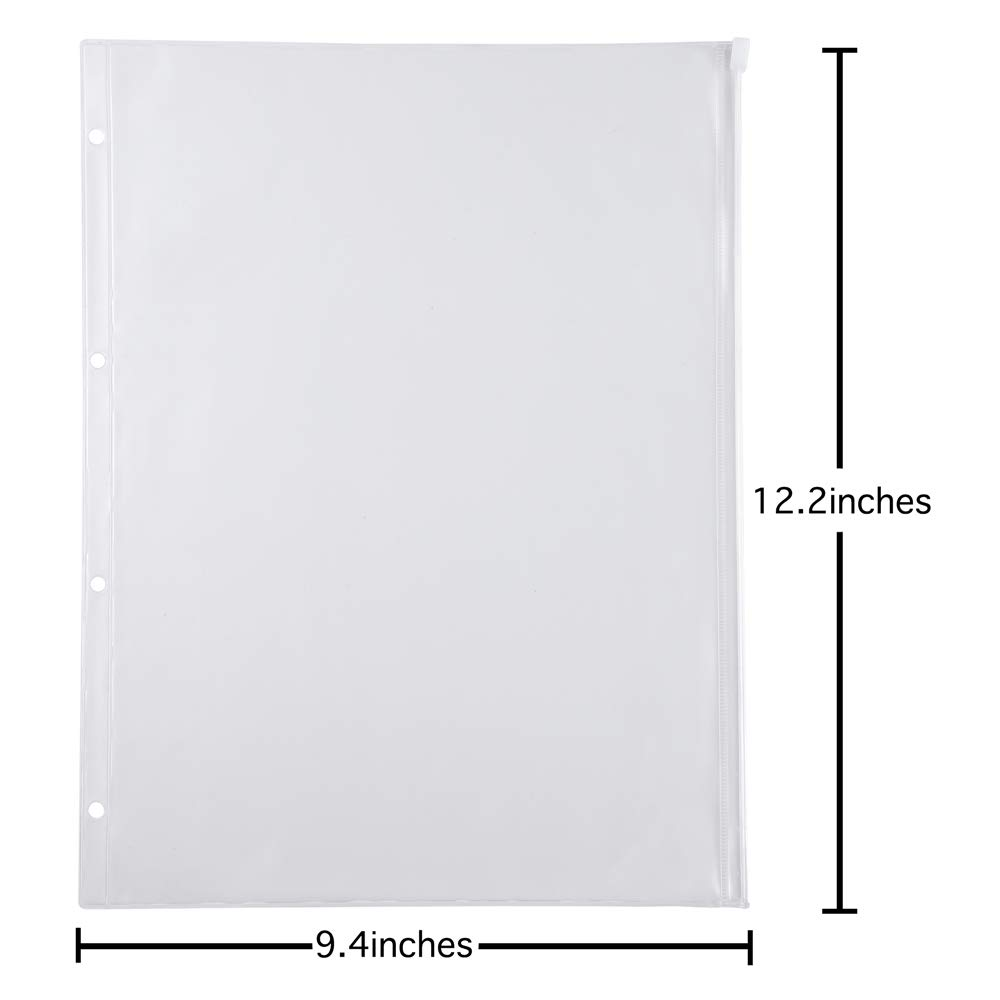 Antner 12 Pack Binder Pocket 4 Holes 8.26'' x 11.69'' A4 Size Zipper Folders Provide Long-Term Protection for Documents Pictures by Antner (Image #2)