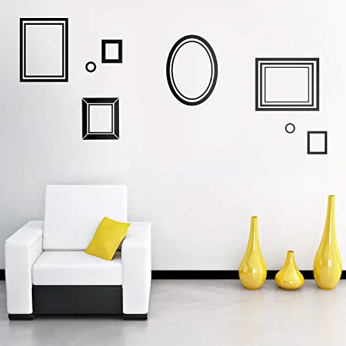 """Set of 8 Vinyl Wall Art Decals - Picture Frames - from 2"""" to 12"""" Each - Modern Urban Decor for Home Apartment Workplace Decor Design for Living Room Bedroom Family Decals (from 2"""" to 12"""" Each, Black)"""
