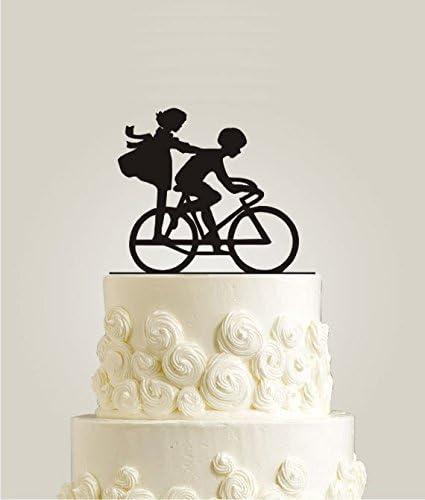 Bicicleta de tarta - disponible en madera MDF de madera rústica - adorno para tarta, tarta de arpillera: Amazon.es: Hogar