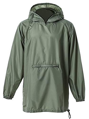 Sleeve Hooded Poncho - LINENLUX Men's Rain Jacket Hooded Outdoor Coat with Pocket(Medium)